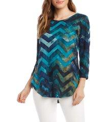 women's karen kane tie dye burnout top, size small - blue