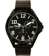 wrangler men's watch, 48mm ip black case with black sunray dial, white applied arabic markers, rugged texture black strap with black stitching, multi-function watch