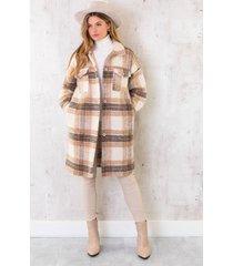 geruite wollen coat camel