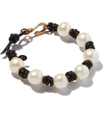 knotted pearl and leather snake bracelet
