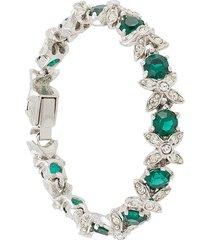 susan caplan vintage 1960s crystal-embellished bracelet - silver