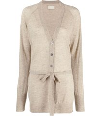 zadig & voltaire jimmy belted v-neck cardigan - neutrals