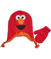 elmo sesame street fleece-lined braided peruvian beanie hat & mitten set nwt $22