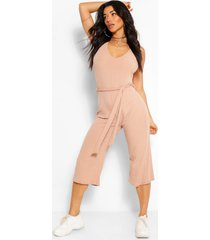 basic ribbed culotte jumpsuit, stone