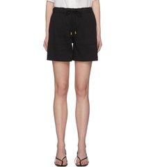 contrast seam patch pocket drawstring waist shorts