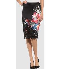 kjol alba moda svart::flerfärgad