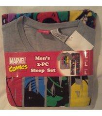 men's marvel comics 2pc sleep pajama set t shirt & micro fleece pants medium