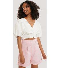 na-kd classic linen blend shorts - pink