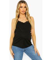 zwangerschap geribbeld hemdje met kanten zoom, black