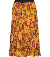 eloise crinkle midi skirt knälång kjol gul french connection