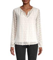 t tahari women's geometric-print self-tie top - white - size l