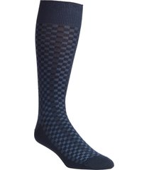 men's nordstrom men's shop mini check ultrasoft dress socks, size one size - blue