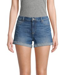paige women's buttoned denim shorts - appa - size 30 (8-10)