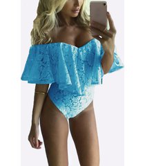 blue off-the-shoulder frill overlay lace bodysuit
