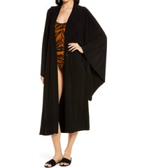 women's norma kamali midi cover-up robe, size small - black
