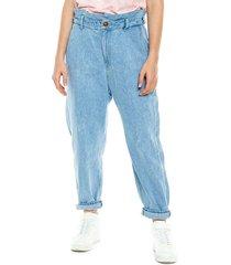 mom fit jeans tiro alto con elástico en cintura color blue