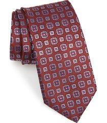 men's canali medallion silk tie, size regular - red