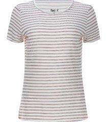 camiseta mujer doble linea color blanco, talla m