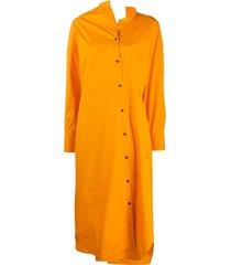 enföld asymmetric midi shirt dress - orange