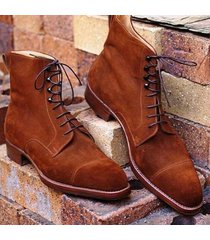 handmade men's tan color cap toe ankle boots, men suede tan color laceup boots