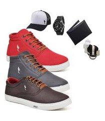 kit 3 pares sapatênis polo blu casual cano alto e cano baixo vermelho/cinza/café acompanha carteira + relógio + cinto + meia + boné