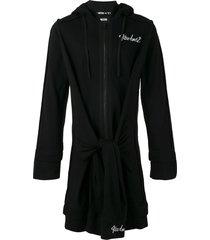 ktz elongated tie waist hoodie - black