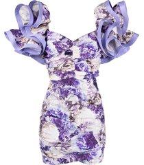 elisabetta franchi floral print skirt suit - purple
