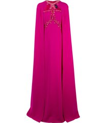 marchesa notte beaded embroidered cape gown - pink