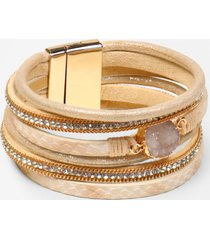 maurices womens ivory drizzy multi row magnetic bracelet beige