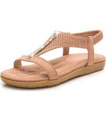 sandali gladiatore piatto casual a fascia elastica aperta