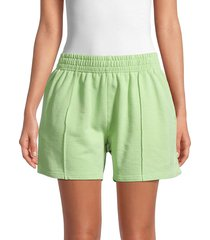eleven paris women's elasticized-waist cotton shorts - green - size l