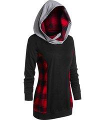 plus size plaid panel long sleeve tunic hoodie