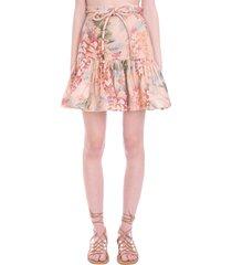 zimmermann skirt in rose-pink cotton