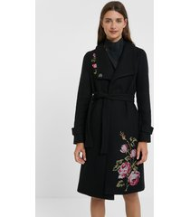 long high neck coat belt - black - xxl