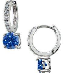 colored cubic zirconia huggie hoop earrings in sterling silver