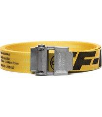 off-white logo industrial belt - yellow