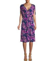 floral-print knee-length dress