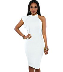 women's one shoulder, ruffles sleeve, knee length, pencil, party, white, dress