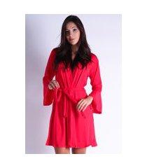 hobby roupão bravaa modas robe amarrar lingerie 241 vermelho