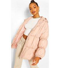 middellange oversized gewatteerde jas, pink