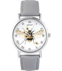zegarek - bee natural - skóra, szary