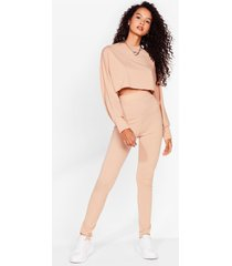 womens let rib be cropped sweater and leggings set - stone