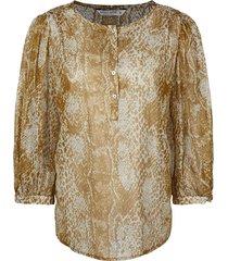blouse gold foil beige