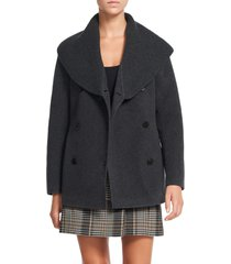 theory shawl collar peacoat, size petite in charcoal melange - a08 at nordstrom