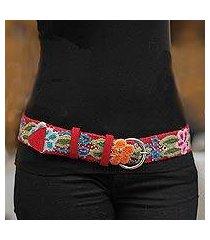 wool belt, 'crimson garland' (peru)