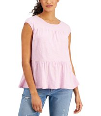 style & co cotton dot-print tiered tank top, created for macy's