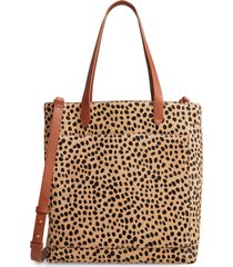 madewell leopard genuine calf hair medium transport tote - brown