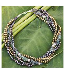 cultured pearl and fluorite beaded necklace, 'cool colors' (thailand)