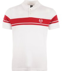 sergio tacchini young line polo shirt - white & red 36639