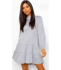 zwangerschaps gesmokte sweatshirt jurk met laagjes, grey marl